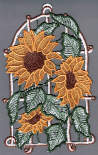 Embroidered Lace Summer Sunflower Window Picture